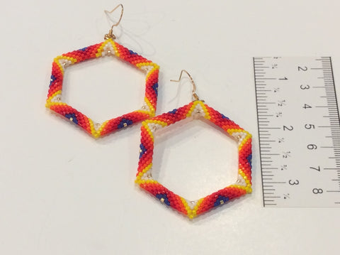 Large hollow hexagon earrings