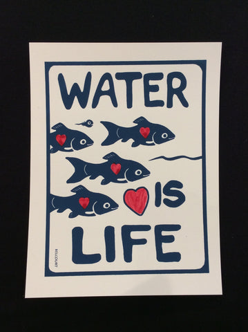 """Water is Life"" -fishes,silk screen print in Dark blue"