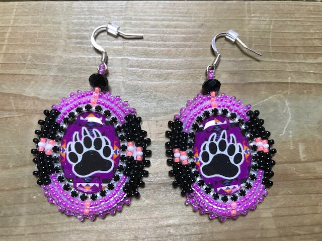 Medium beaded Bear earrings by Rachel Panamick - created offsite
