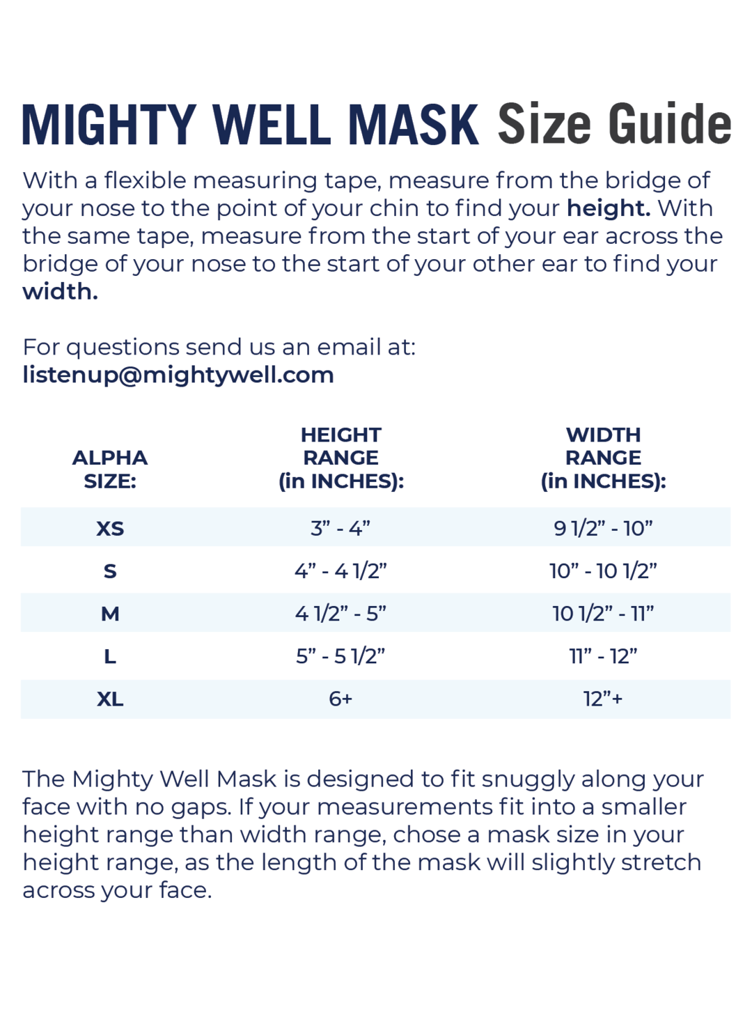 Mighty Well Mask Size Chart