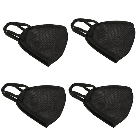 Kraasa Reusable Black Net Face Protection Mask KMSK0005( Pack Of 4)