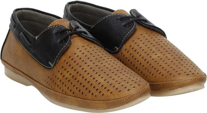 Kraasa Egypt Boat Shoes For Men (Tan)