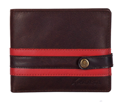 Kraasa Men Casual Brown, Red Genuine Leather Wallet (5 Card Slots)