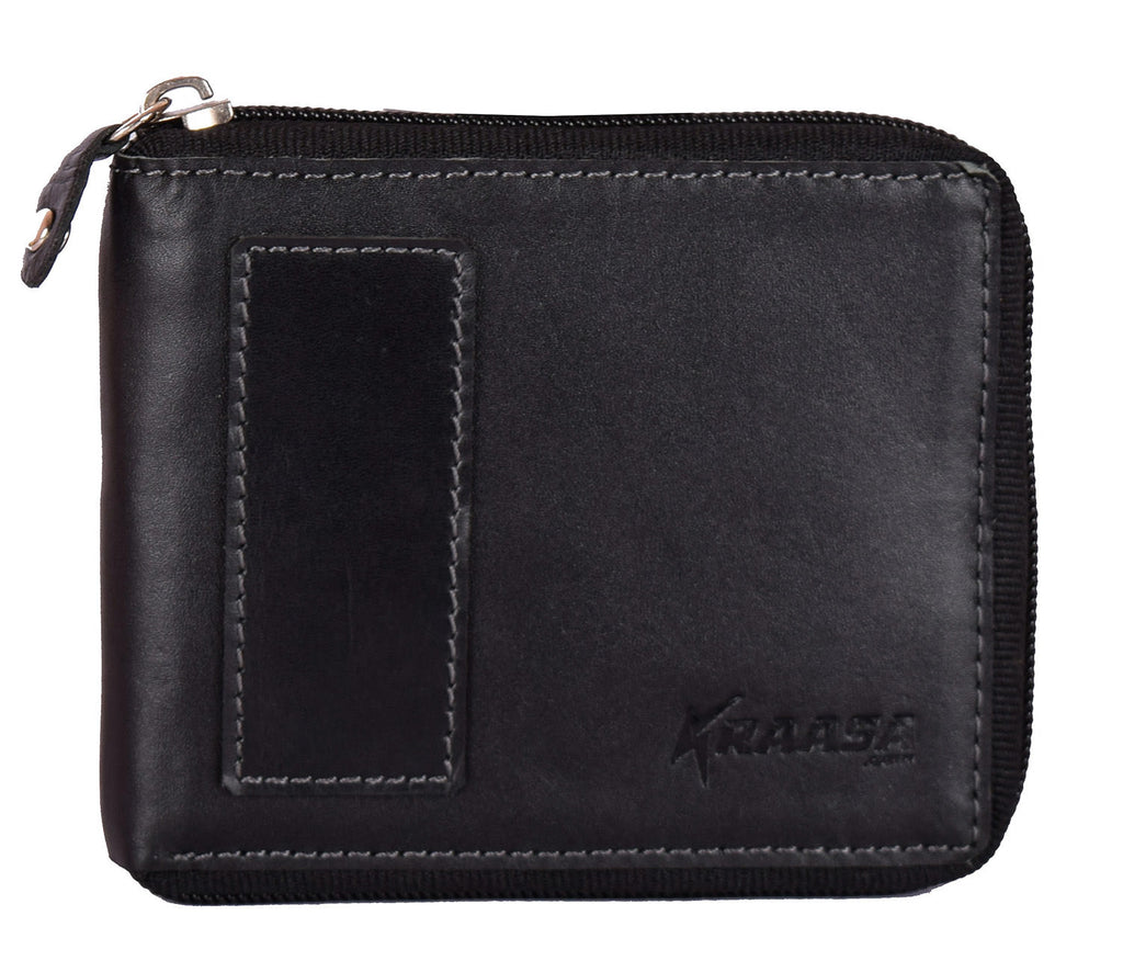 Kraasa Men Casual Black Genuine Leather Wallet (3 Card Slots)