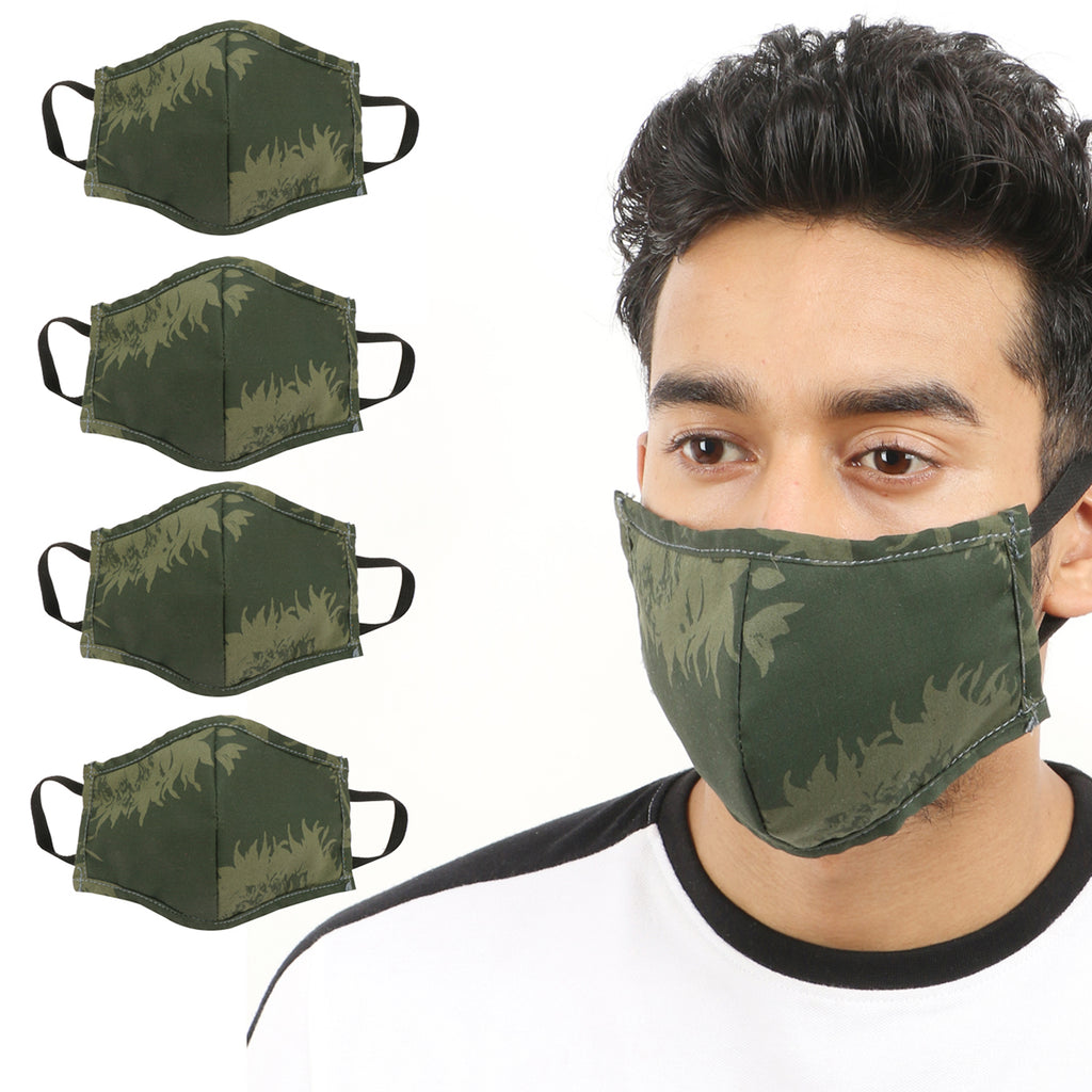 Kraasa Reusable Green Printed Face Protection Mask KMSK0002 (Pack Of 4)