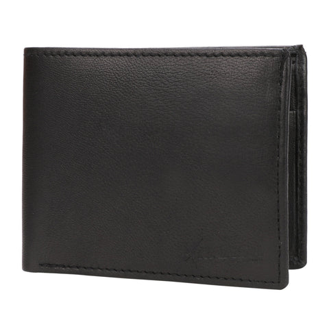 Kraasa Men Black Genuine Leather Wallet (3 Card Slots)