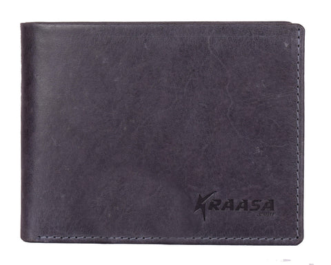 Kraasa Men Casual Grey Genuine Leather Wallet (2 Card Slots)