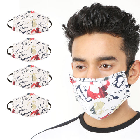 Kraasa Reusable White Printed Protection Mask KMSK0003 (Pack Of 4)