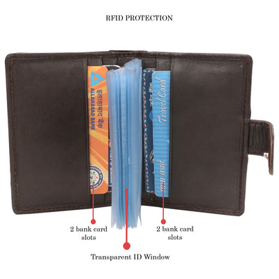 Kraasa Men Brown Genuine Leather Card Holder (4 Card Slots)