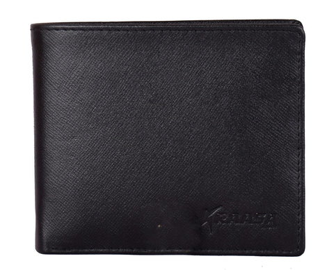 Kraasa Men Casual Black Genuine Leather Wallet (5 Card Slots)