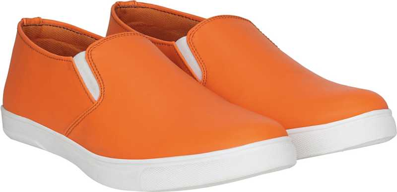 Kraasa Pride Slip On Sneakers For Men (Orange, White)