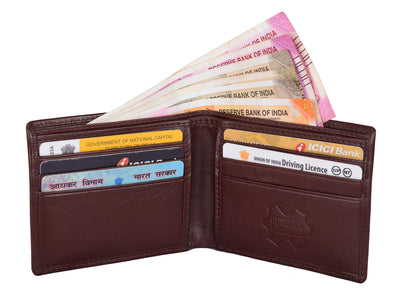 Kraasa Men Casual Brown Genuine Leather Wallet (6 Card Slots)