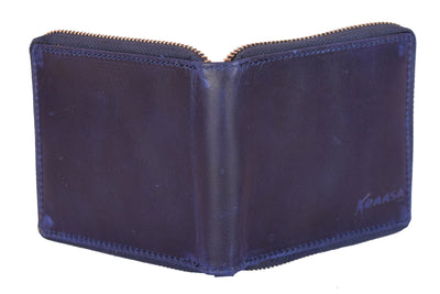 Kraasa Men Blue Genuine Leather Wallet (3 Card Slots)