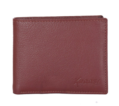 Kraasa Men Casual Brown Genuine Leather Wallet (5 Card Slots)