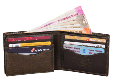 Kraasa Men Casual Brown Genuine Leather Wallet (9 Card Slots)