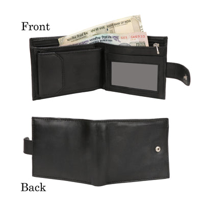 Kraasa Men Black Genuine Leather Wallet (5 Card Slots)