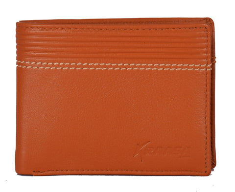 Kraasa Men Casual Tan Genuine Leather Wallet (6 Card Slots)