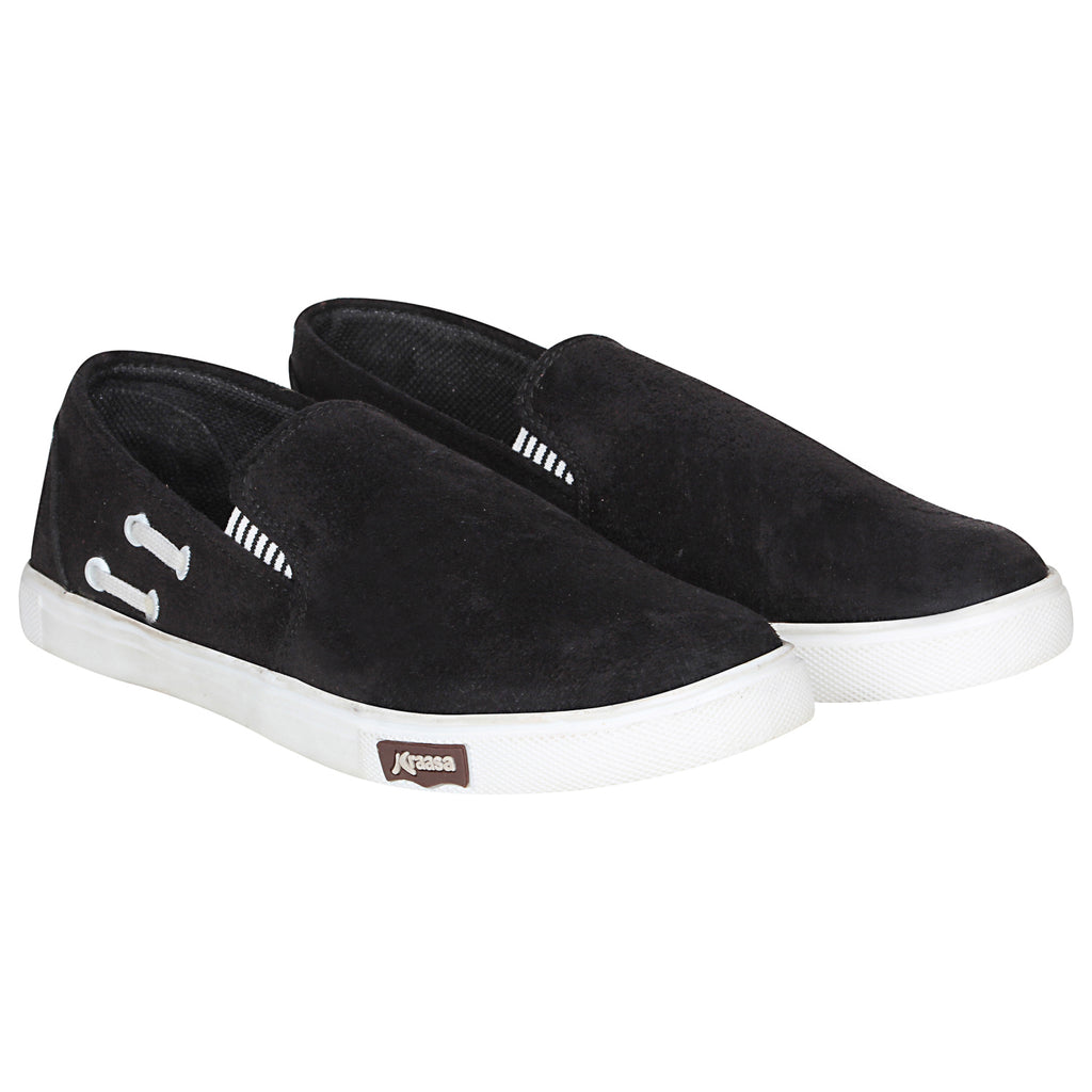 Kraasa 4168 Black Casual Slip-on Sneakers