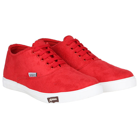 Kraasa 4167 Red Casual Lace-up Sneakers