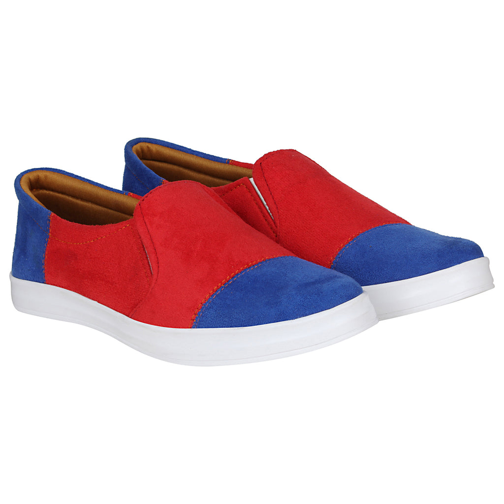 Kraasa 4178 BlueRed Casual Suede  Loafers