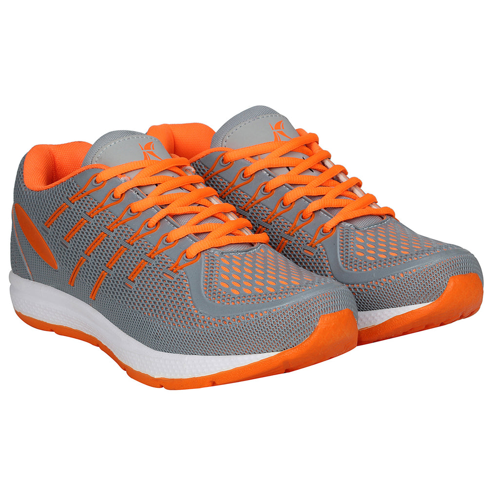 Kraasa 7058 GreyOrange Sports Walking Shoes