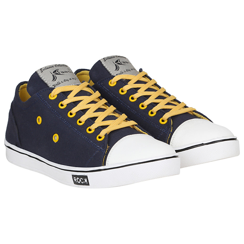 Kraasa 4186 NavyYellow Casual Canvas Sneakers