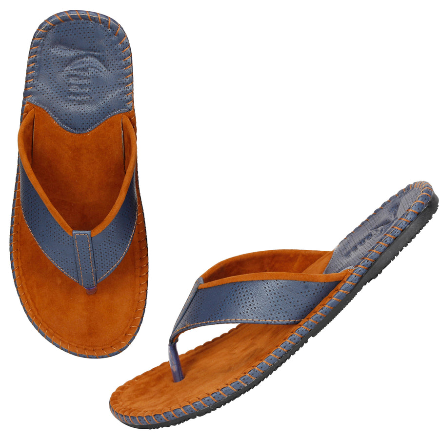 Kraasa 5138 TanBlue Casual Slippers
