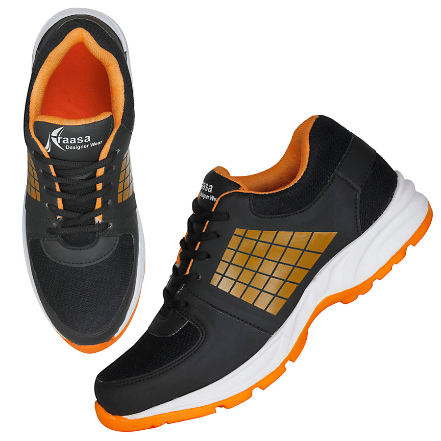 Kraasa 7043 BlackOrange Sports Running Shoes
