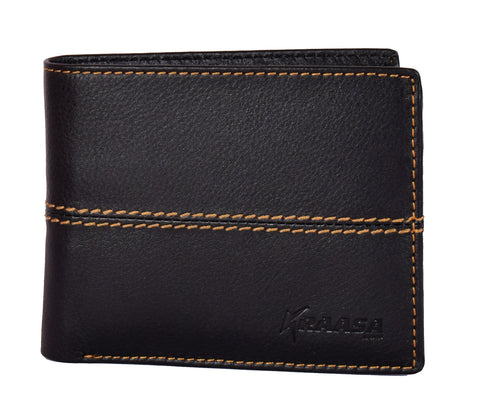 Kraasa Men Casual Black Genuine Leather Wallet (8 Card Slots)