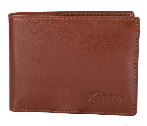 Kraasa Men Formal Brown Genuine Leather Wallet (6 Card Slots)