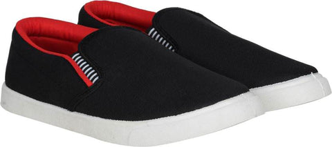 Shoe Daddy Slip On Sneakers For Men (BlackRed)