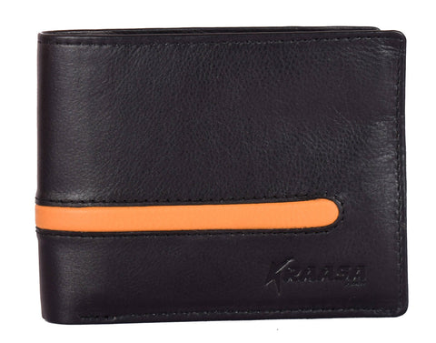 Kraasa Men Black, Orange Genuine Leather Wallet (6 Card Slots)
