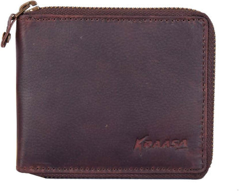 Kraasa Men Casual Brown Genuine Leather Wallet (3 Card Slots)