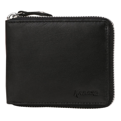 Kraasa Men Black Genuine Leather Wallet  (4 Card Slots)