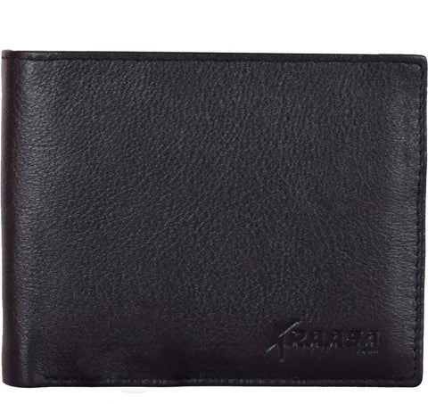 Kraasa Men Formal Black Genuine Leather Wallet (9 Card Slots)