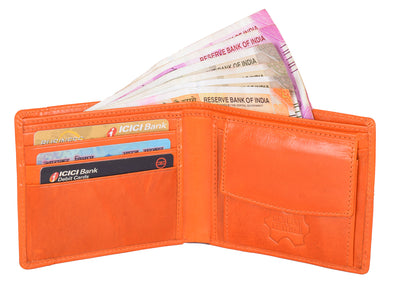 Kraasa Men Casual Orange Genuine Leather Wallet (3 Card Slots)