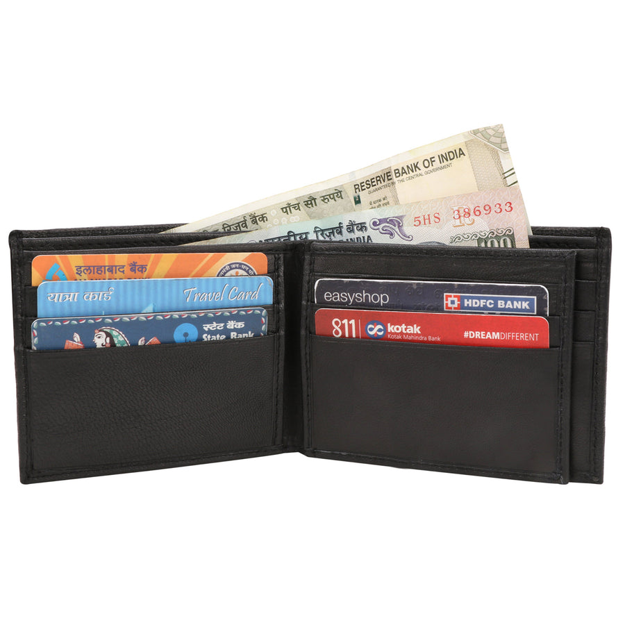 Kraasa Men Black Genuine Leather Wallet (9 Card Slots)