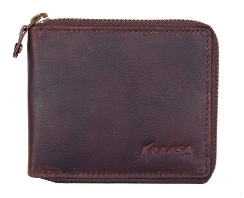 Kraasa Men Brown Genuine Leather Wallet (5 Card Slots)