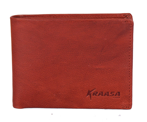 Kraasa Men Formal Brown Genuine Leather Wallet (3 Card Slots)