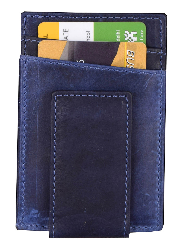 Kraasa Men Formal Blue Genuine Leather Wallet (4 Card Slots)