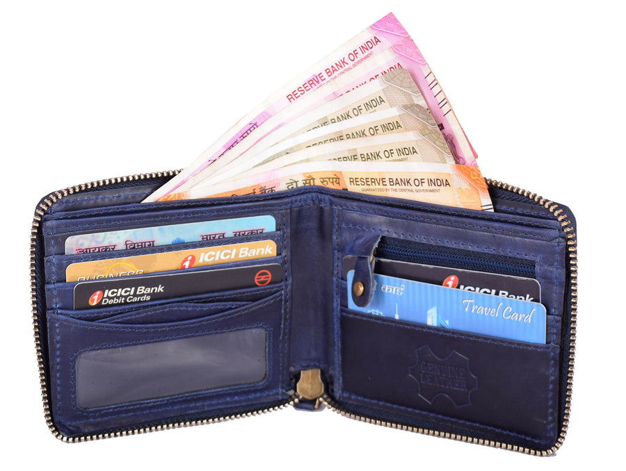 Kraasa Men Blue Genuine Leather Wallet (5 Card Slots)