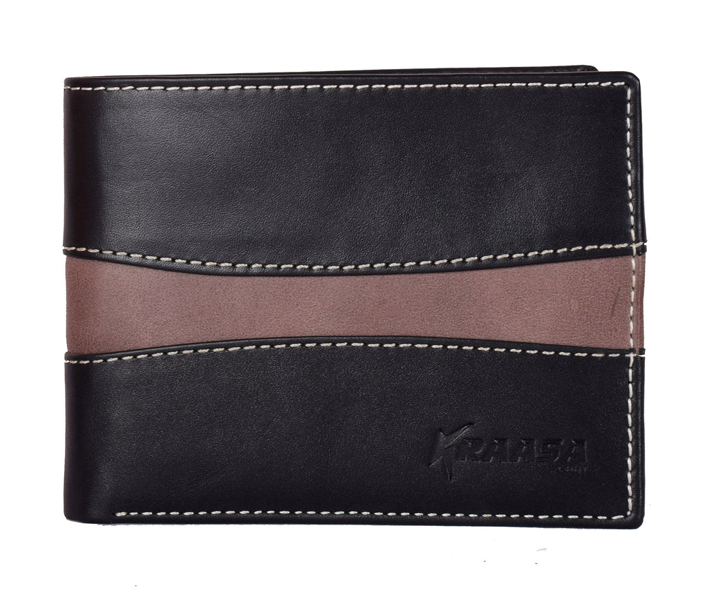 Kraasa Men Casual Black, Brown Genuine Leather Wallet (8 Card Slots)