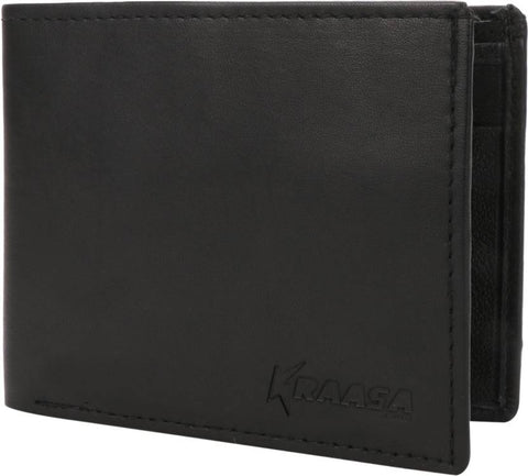 Kraasa Men Black Genuine Leather Wallet (7 Card Slots)