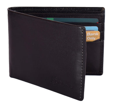 Kraasa Men Casual Black Genuine Leather Wallet (6 Card Slots)