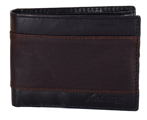 Kraasa Men Casual Black, Brown Genuine Leather Wallet (3 Card Slots)