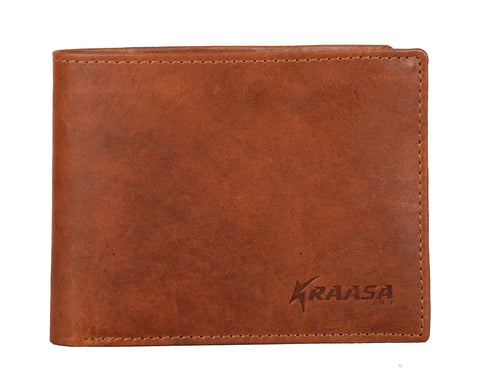 Kraasa Men Formal Brown Genuine Leather Wallet (8 Card Slots)