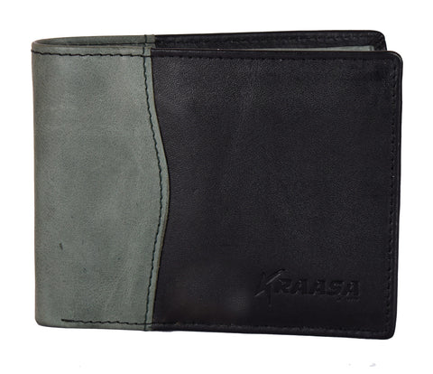 Kraasa Men Casual Black, Grey Genuine Leather Wallet (6 Card Slots)