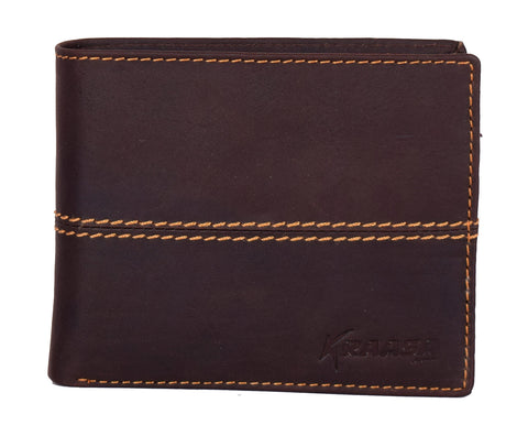 Kraasa Men Casual Brown Genuine Leather Wallet (8 Card Slots)