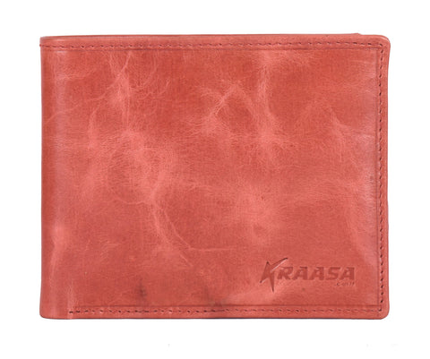 Kraasa Men Casual Tan Genuine Leather Wallet (8 Card Slots)