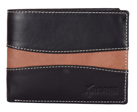 Kraasa Men Multicolor Genuine Leather Wallet (8 Card Slots)